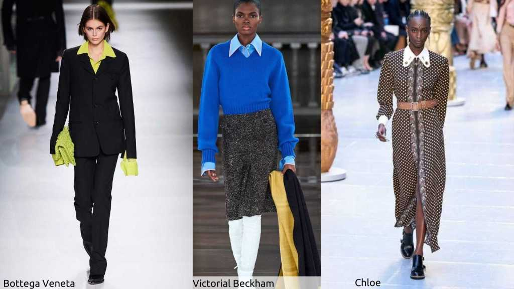 Runway styles showing statement collars from Bottega Veneta, Victoria Beckham and Chloe