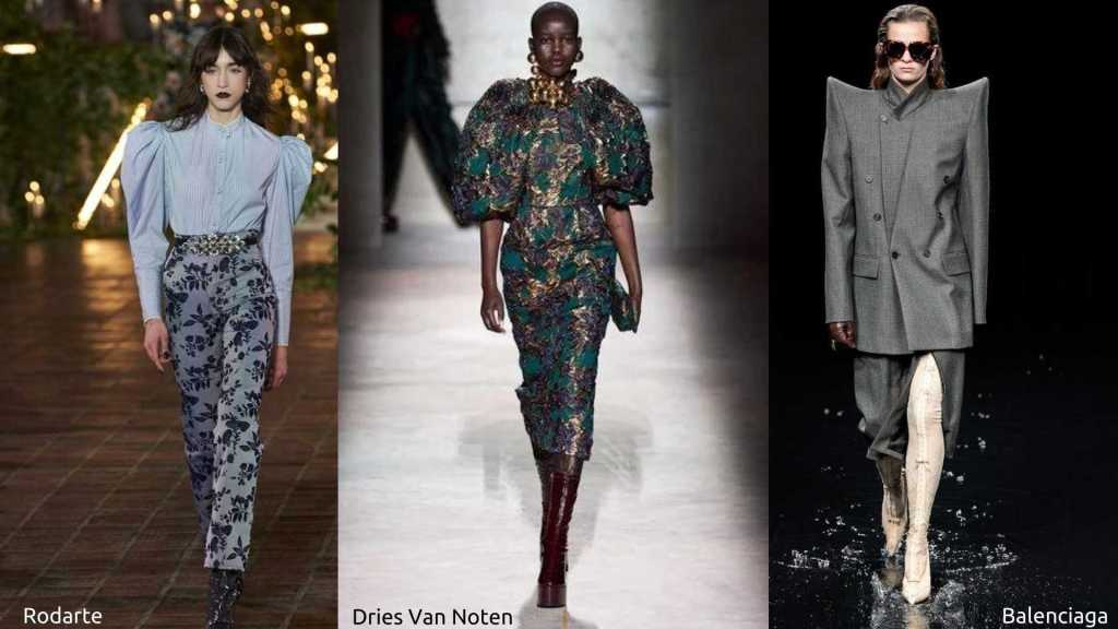 Runway styles showing strong shoulders from Rodarte, Dries Van Noten and Balenciaga.