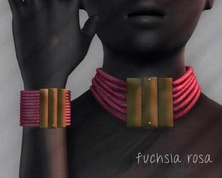 Ichtacha choker set - fuchsia rosa