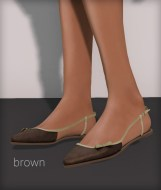 Line pointy flats - brown