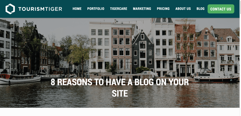Image of waterfront houses along a canal in the Netherlands, over-image text reads 8 reasons to have a blog on your site