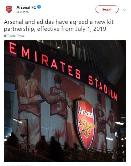 Adidas vestirá al Arsenal