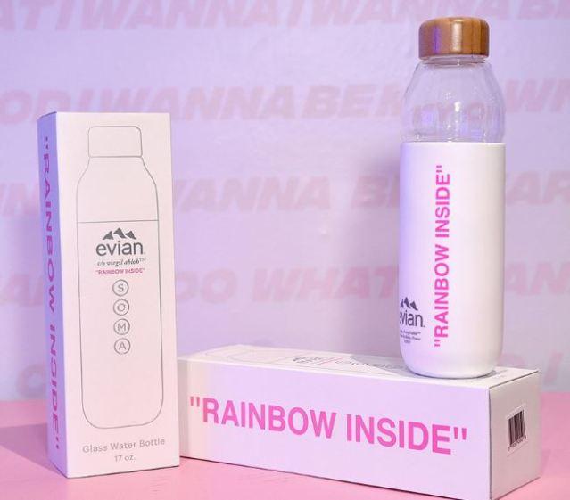 La botella de agua Evian de Virgil Abloh x SOMA ha sido presentada