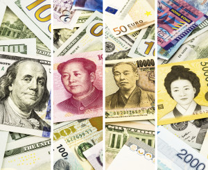 World currency or money collection theme set, collage set of four faces on banknotes