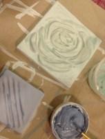 top-coat glassy glaze applied heavily over the vibrant under-glazes