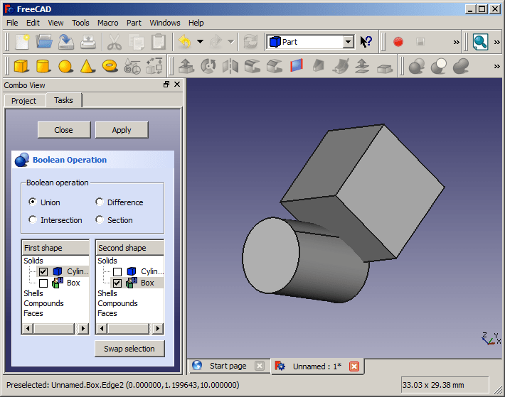 screenshot of FreeCAD showing a cylinder intersecting a cube and the Boolean operation window visible