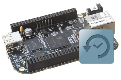 image of a beaglebone black with a backup icon over the top of it