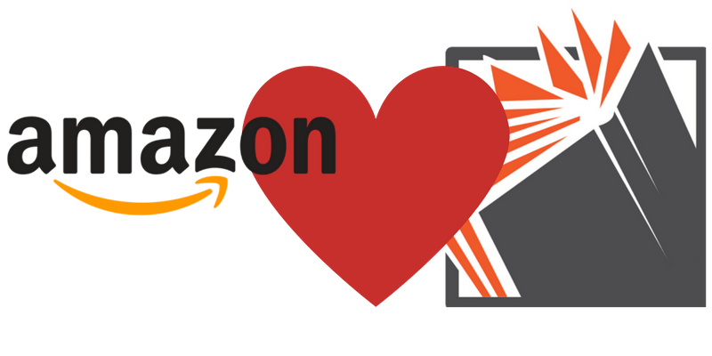 amazon logo loves booko logo