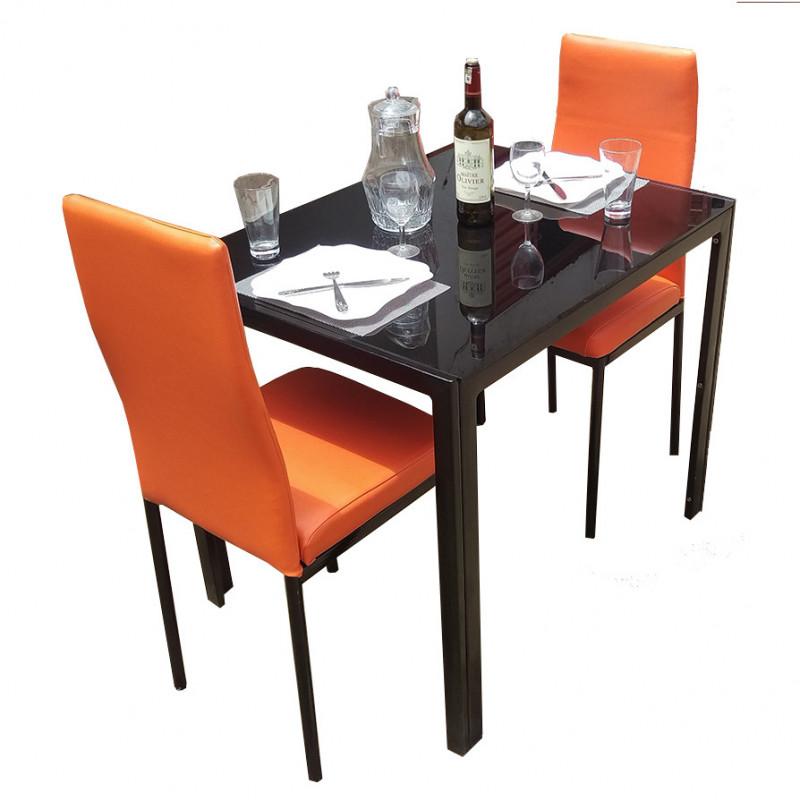 salle a manger 2 places en cuir orange avec table en verre solide