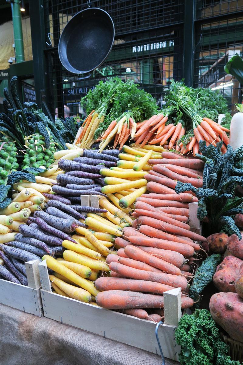 borough market carrots rainbow london