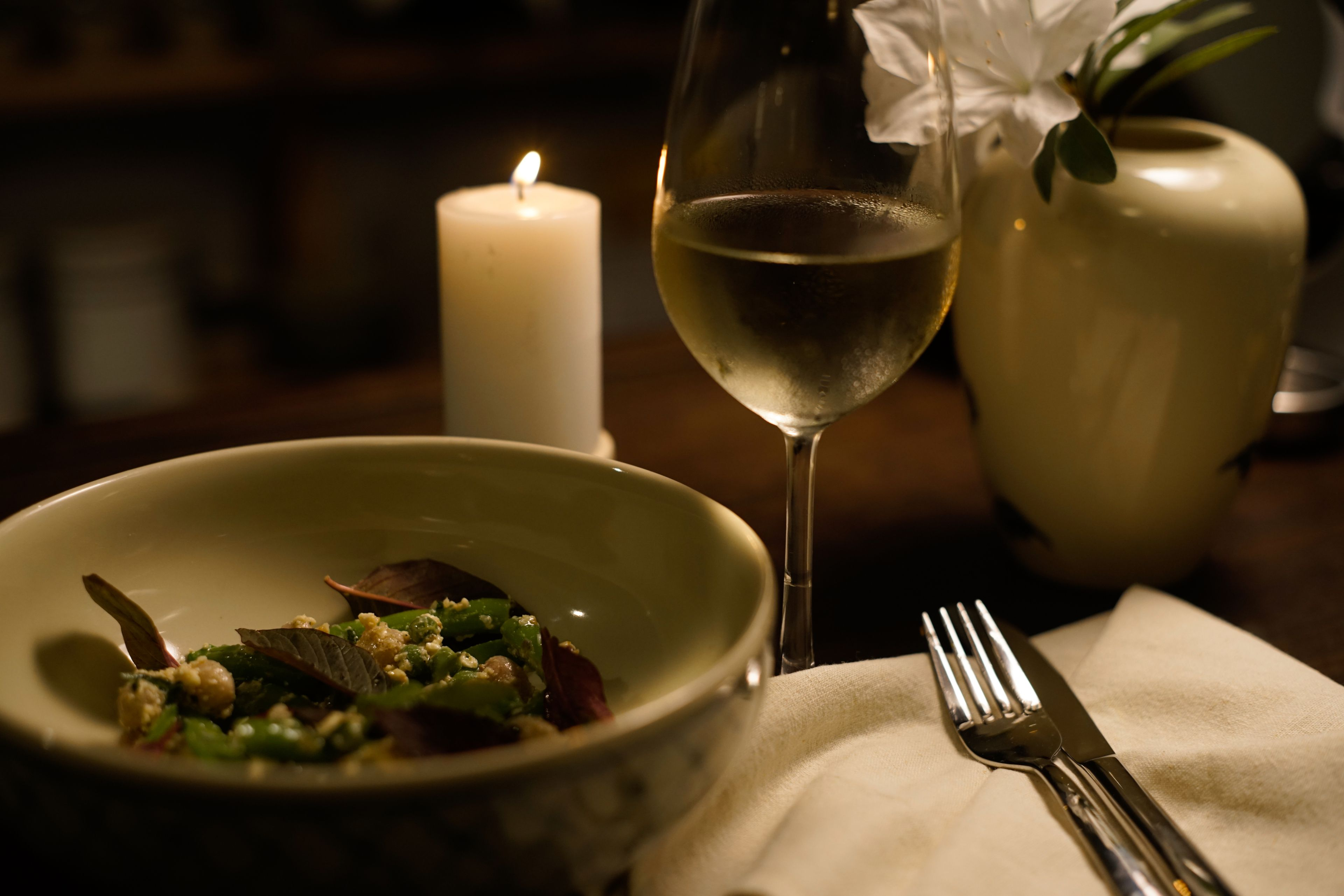 White wine by candlelight with Summer Salad
