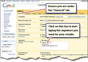 gmail-email-signature-create setting option