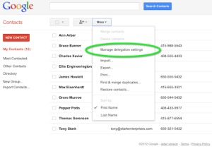 Google Contacts Settings