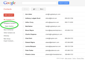 Google Contacts list