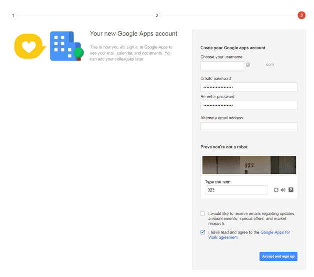 Step 3: Finish creating Google Apps Account