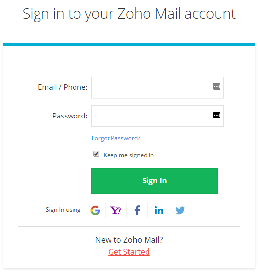 Email login zoho Sign In