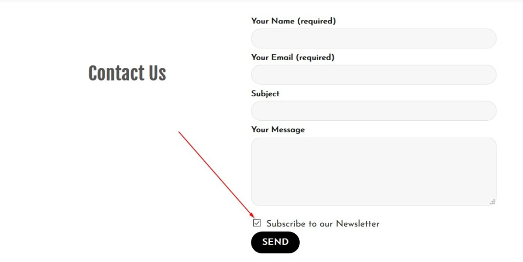 Subscribe to email list via contact form