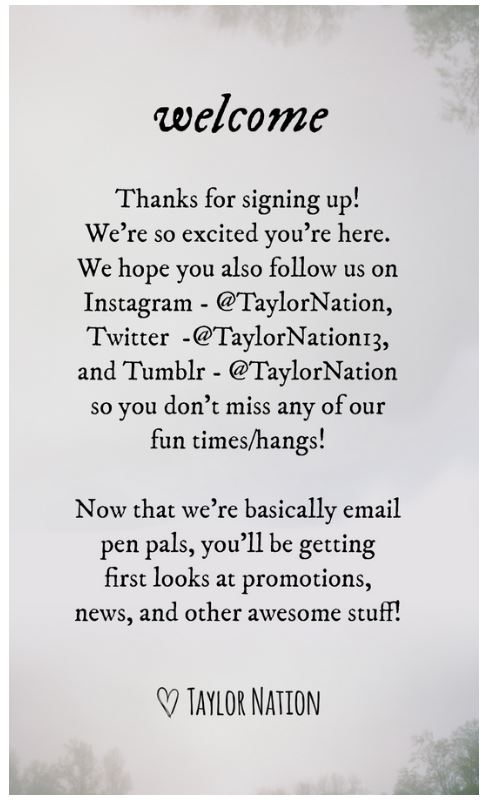Taylor Swift Email subscription welcome email