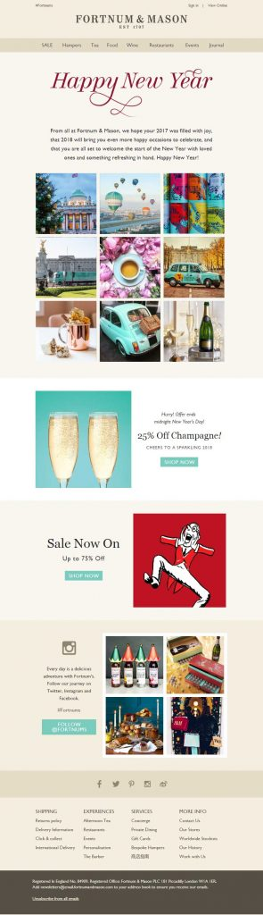 Fortnum-&-Mason New Year Email