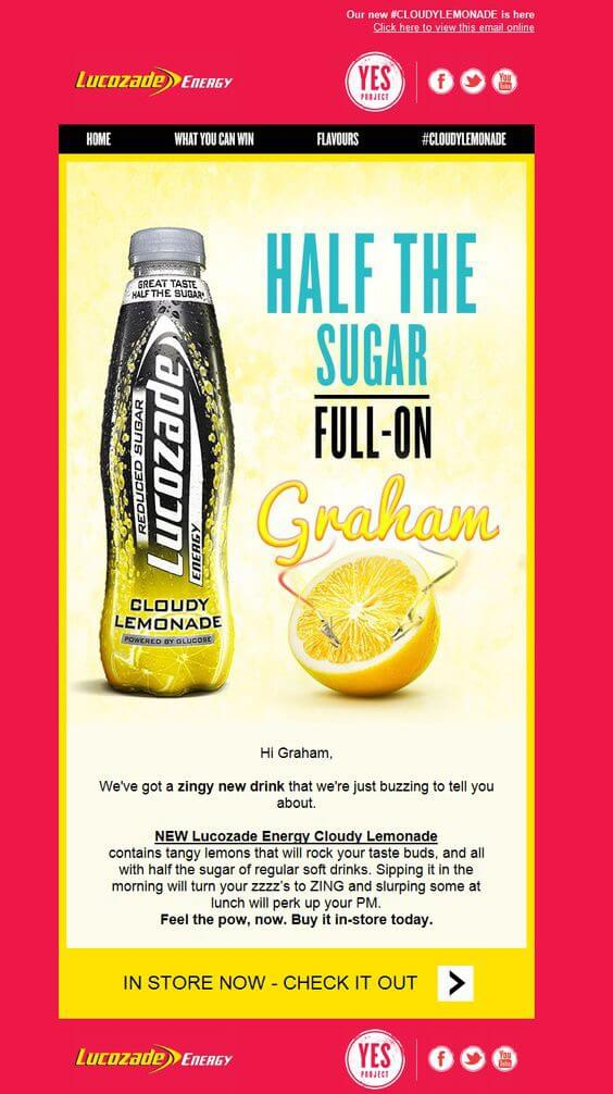 Lucozade- personalization in HTML email