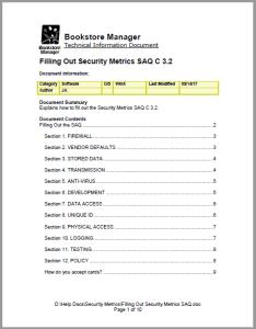 Filling Out Security Metrics SAQ