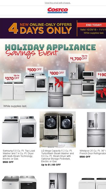 Early Black Friday Appliance Savings Costco Grocery Delivery To Your Home Costco Wholesale Email Archive