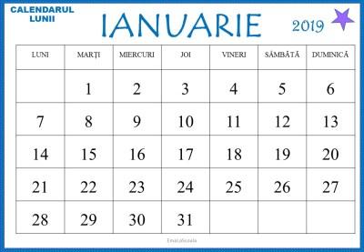 calendarul lunii ianuarie