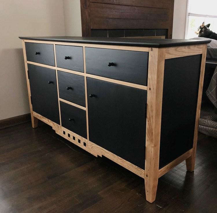black and pine vintage sideboard buffet Em & Wit Design