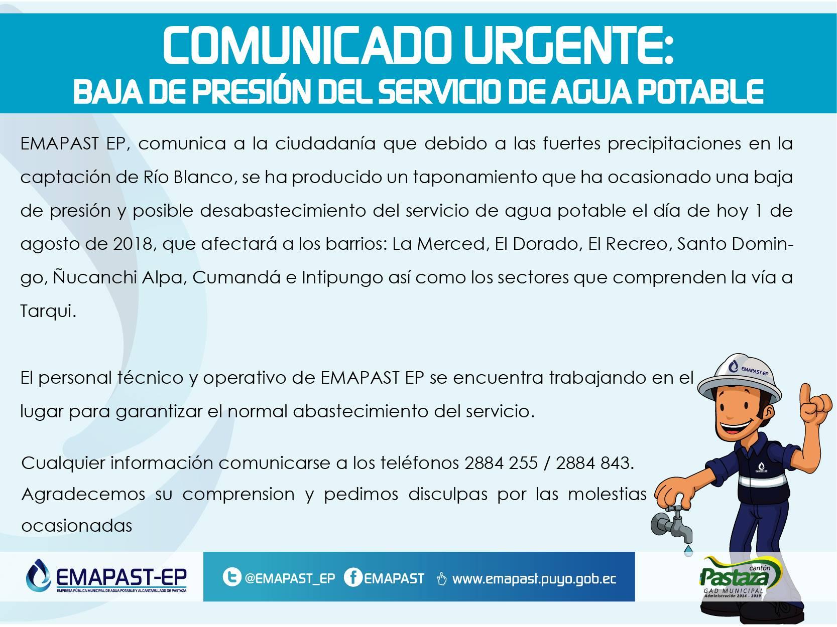 COMUNICADO URGENTE:BAJA DE PRESIÓN DEL SERVICIO DE AGUA POTABLE EMAPAST
