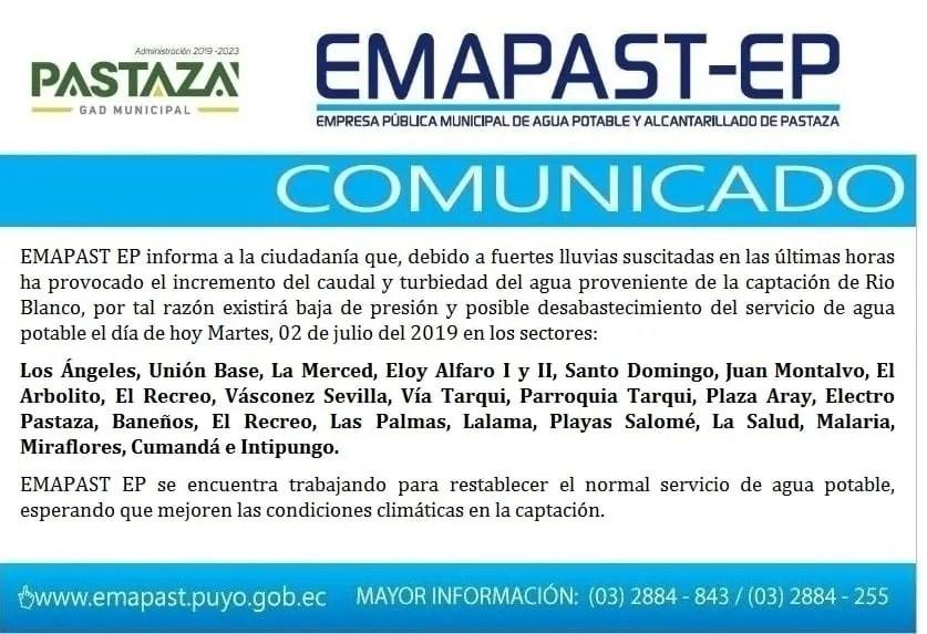 EMAPAST EP Informa A La Ciudadanía Que, Debido A Fuertes
