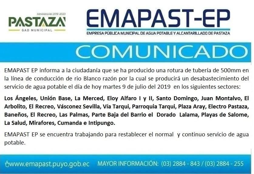 EMAPAST EP Informa A La Ciudadanía Que Se Ha Producido