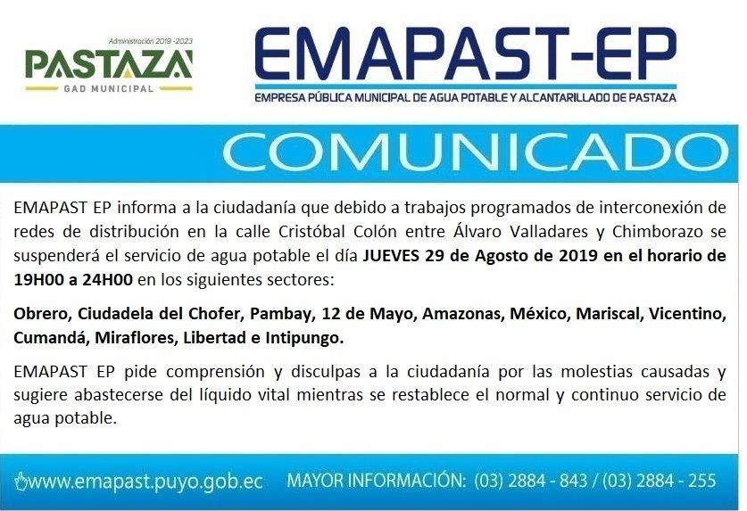 #Comunicado# EMAPAST Informa A La Ciudadanía