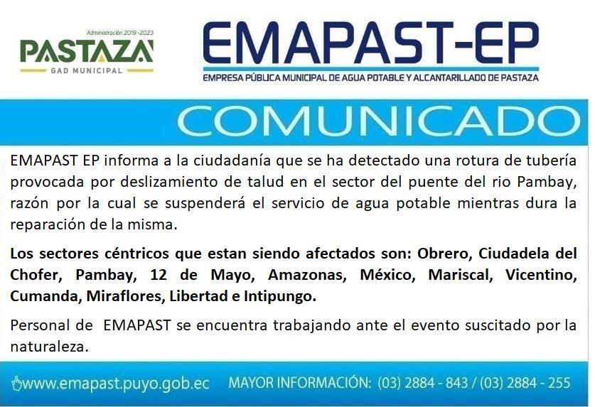 EMAPAST EP Informa A La Ciudadanía Que Se Ha Detectado