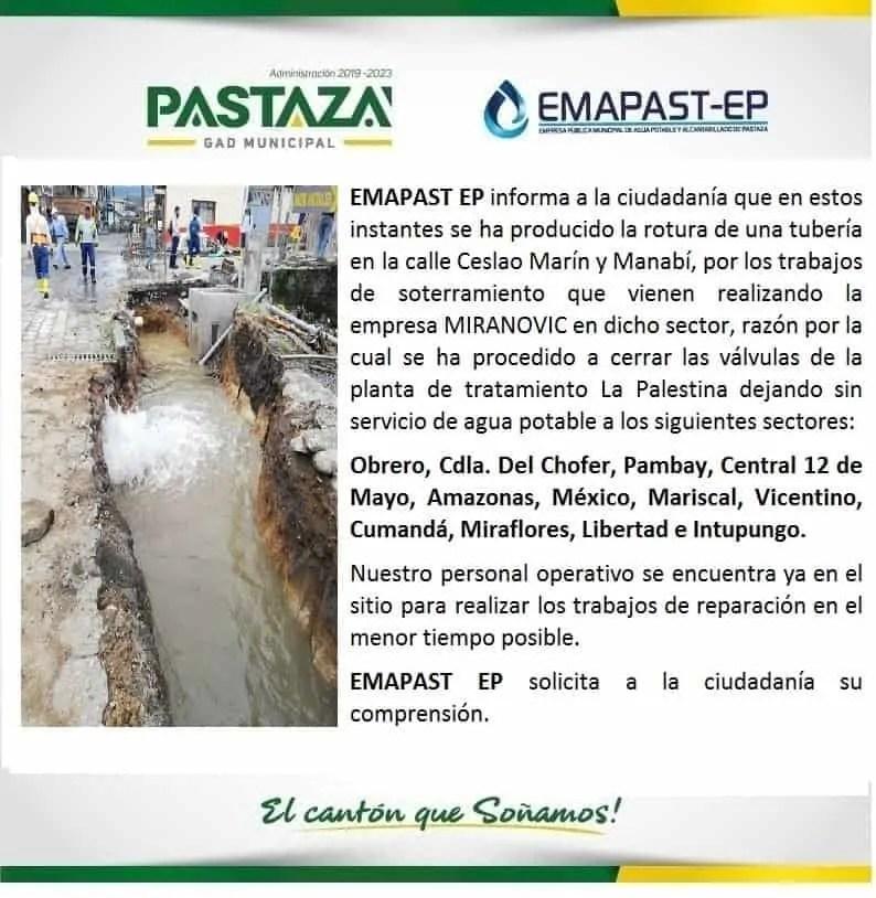 EMAPAST EP Informa A La Ciudadanía Que En Estos Instantes