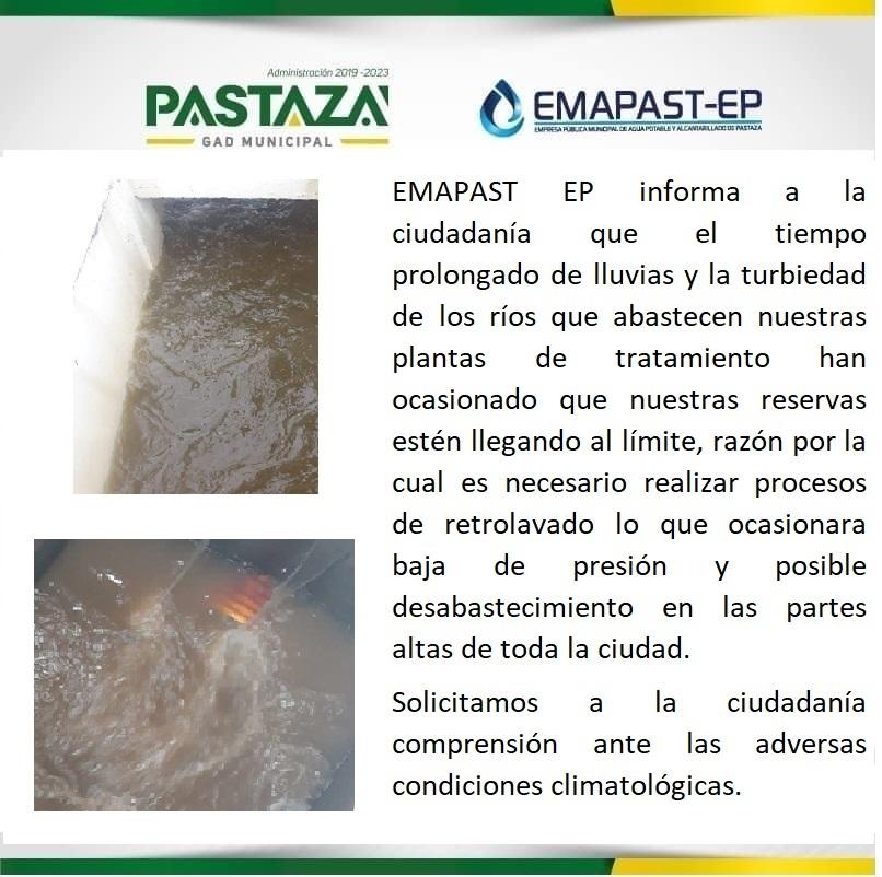 EMAPAST EP Informa A La Ciudadanía Que El Tiempo Prolongado