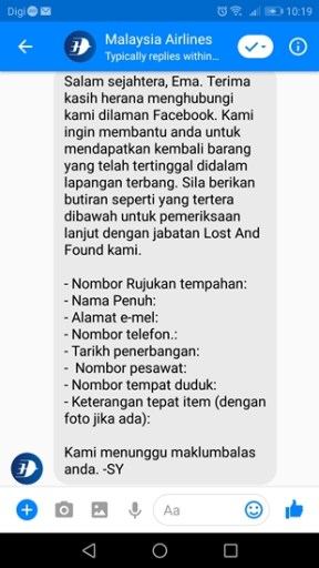 lost and found item KLIA