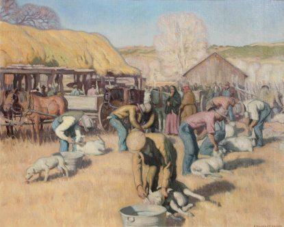 "E Martin Hennings   ""Shearing Sheep, Los Cordovas"""