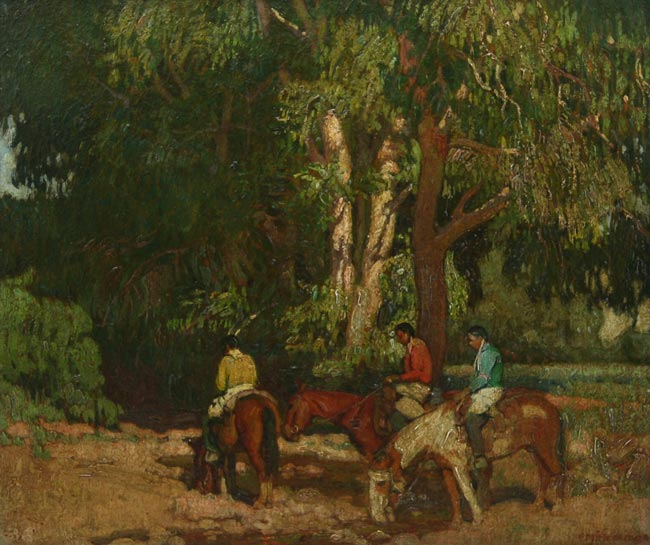 """E. Martin Hennings   """"Watering Their Horses"""""""