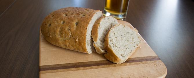 Loaf of rye bread on cutting board