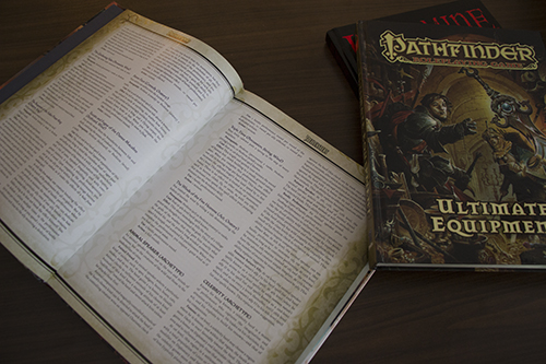 Pathfinder books sitting on table
