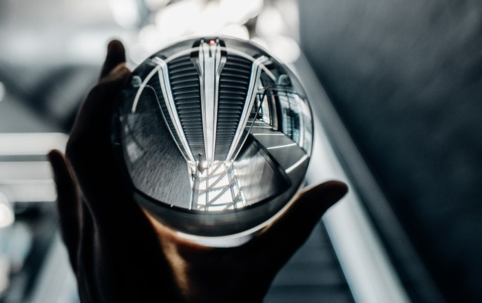 crystal ball with reflected stairwell