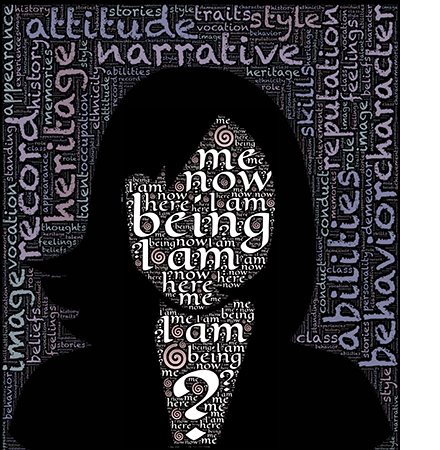 Woman outline filled with words regarding a person's identity