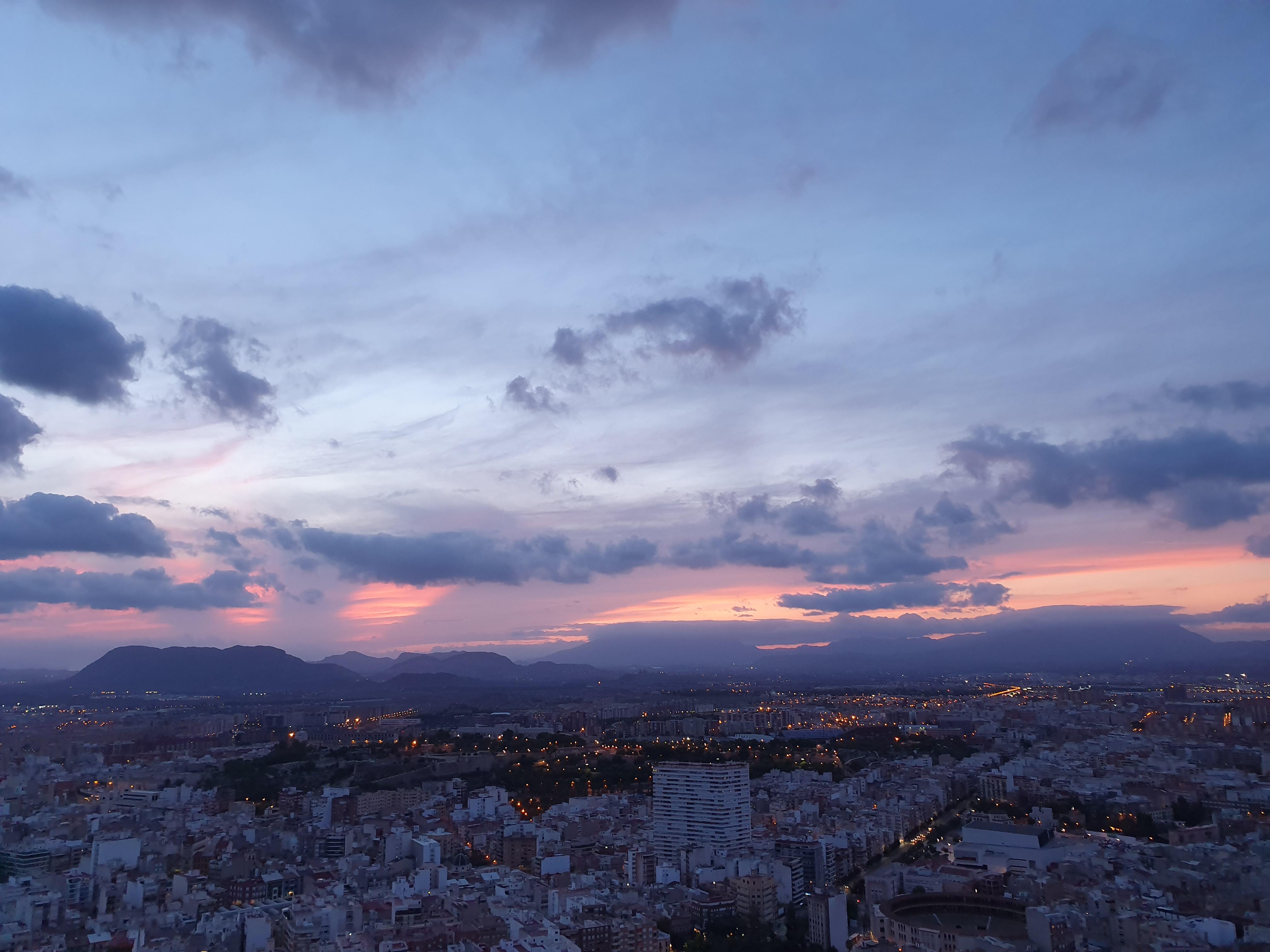 Coucher de soleil depuis le château d'Alicante