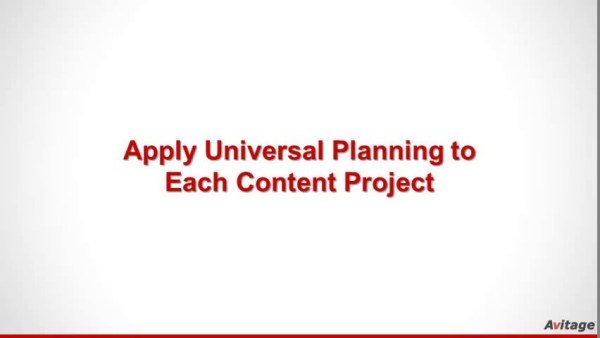 Apply Universal Planning to Each Content Project Plan