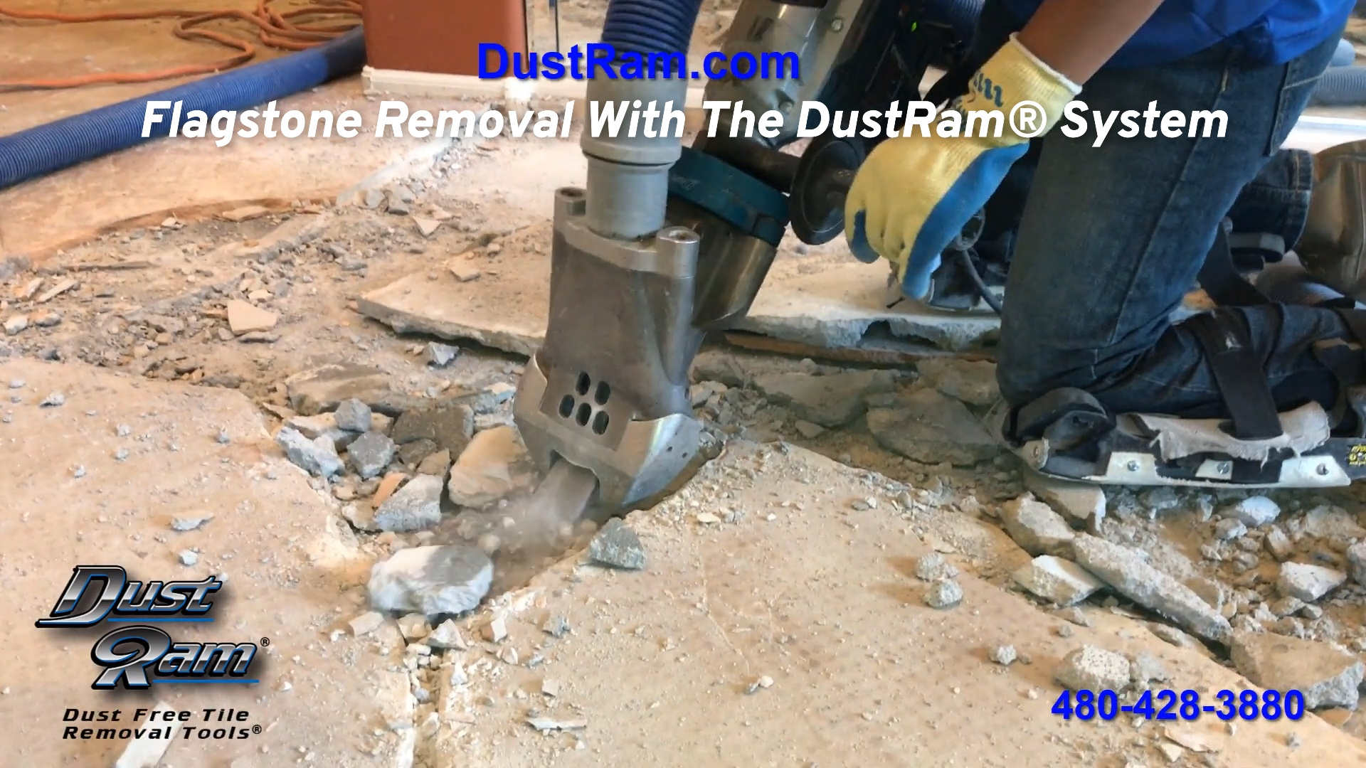 flagstone removal with the dustram system