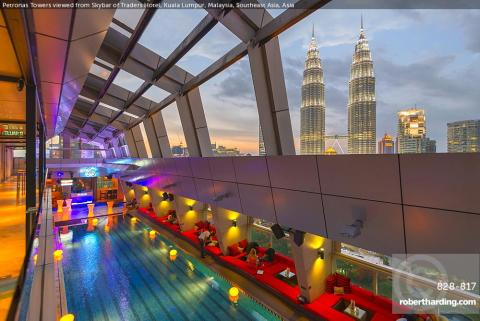 Petronas Towers viewed from Skybar of Traders Hotel, Kuala Lumpur, Malaysia, Southeast Asia, Asia