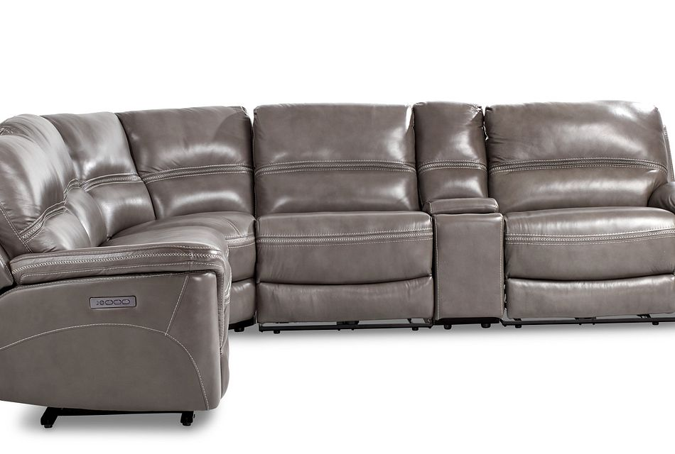 bryson dark gray lthr vinyl medium dual power 2 arm reclining sectional