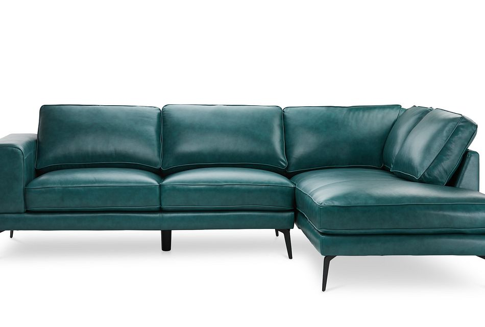 naples turquoise leather right chaise sectional with black legs