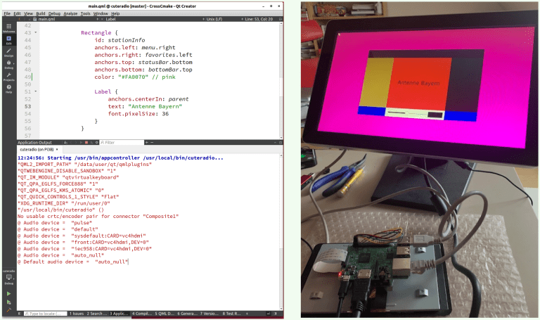 Run Step: Messages in Application pane and modified app on embedded device