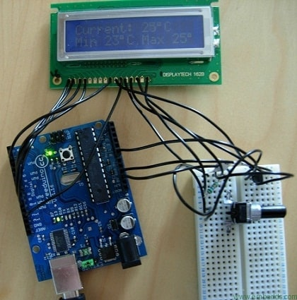 Arduino displays min and max temperatures - Embedds